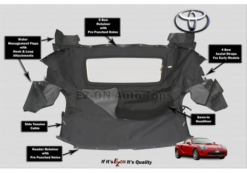 Autoberry Toyota Mr2 Spyder Convertible Soft Top Replacement Ez On Brand 1999 2007 Tops Seat Covers Headliners